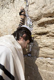 Jewish Man Praying at the Western Wall. A Jewish adult (early 30's) Caucasian man wearing a Jewish praying shawl, Yarmulke and Phylacteries on his head and left Royalty Free Stock Image