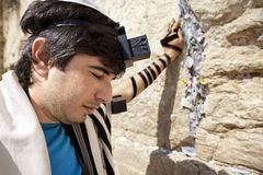 Jewish Man Praying at the Western Wall. A Jewish adult (early 30's) Caucasian man wearing a Jewish praying shawl, Yarmulke and Phylacteries on his head and left Stock Images
