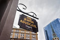 Jewish Advocate wooden plate on Milk Street at downtown Boston. Boston, USA - April 28, 2015: Jewish Advocate wooden plate on Milk Street at downtown Boston Royalty Free Stock Images