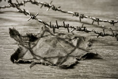 Jewish badge and barbed wire, in sepia toning Royalty Free Stock Images