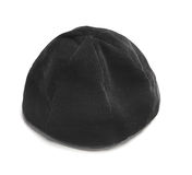Jewish black hat. Traditional male jewish kipa at white background Royalty Free Stock Image