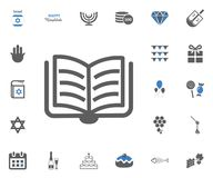Jewish Holiday Hanukkah icons set. Vector illustration. Jewish book icon. Jewish Holiday Hanukkah icons set. Vector illustration Royalty Free Stock Photo