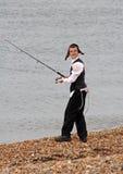 Jewish boy fishing Royalty Free Stock Photography