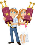 Jewish Boy And Girl Hold Torah For Bar Bat Mitzvah. Vector illustration of Jewish boy and girl holding the Torah for Bar and Bat Mitzvah Stock Images