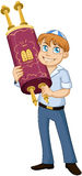 Jewish Boy Hold Torah For Bar Mitzvah. Vector illustration of a jewish boy holds the torah for bar mitzvah Royalty Free Stock Photos