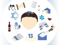 Jewish boy icon with traditional Bar mitzvah elements. In a white circle Stock Photo