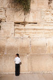Jewish Boy Praying at Western Wall Royalty Free Stock Photos