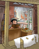 Jewish boy read the Torah. During the World War II, Poland. Digital Illustration. Art, print, web vector illustration
