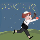 Jewish boy with shofar. Cute vector greeting cartoon illustration Royalty Free Stock Photo