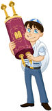 Jewish Boy With Talit Holds Torah For Bat Mitzvah. Vector illustration of a Jewish boy with talit holds the Torah for Bar Mitzvah Royalty Free Stock Images
