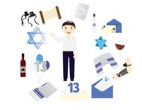 Jewish boy with traditional Bar mitzvah elements. Around him Royalty Free Stock Photos