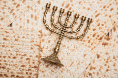 Jewish bread - matza with candlestick - menorah. Jewish bread matza with candlestick menorah Stock Photography