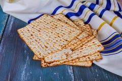 Jewish bread matza on wood Royalty Free Stock Images