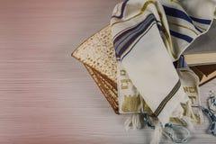 Jewish bread matza on wood Royalty Free Stock Photos