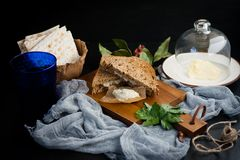 Jewish breakfast with herring pate Royalty Free Stock Image