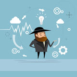 Jewish Business Man Showing Finance Chart Graph Report. Vector Illustration Royalty Free Stock Photos