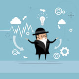Jewish Business Man Showing Finance Chart Graph Report. Vector Illustration Royalty Free Stock Images