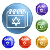 Jewish calendar icons set vector vector illustration