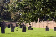 Jewish cemetary. Old Jewish cemetary in Fredericia, Denmark a sunny autumn day royalty free stock photography