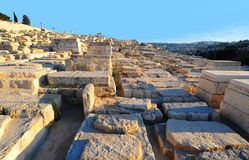 Jewish Cemetery. Ancient Jewish Cemetery On The Olive Mountain In Jerusalem Royalty Free Stock Photos