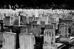 Jewish Cemetery. High contrast black and white view of headstones in an old, crowded Jewish cemetery Royalty Free Stock Photography