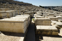 Jewish cemetery at Mount of Olives in Jerusalem Royalty Free Stock Photos