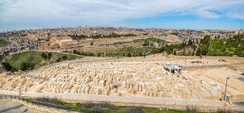 Jewish cemetery on Mount of Olives Stock Photos