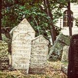 Jewish cemetery in Prague, Czech republic, old filter Stock Photos