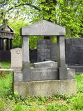 Jewish cemetery in spring. Some tombstones at the jewish cemetery in spring stock photos