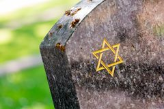Jewish cemetery: Star of David on the tombstone Stock Image