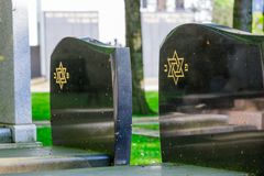Jewish cemetery: Star of David on the tombstone Royalty Free Stock Photos