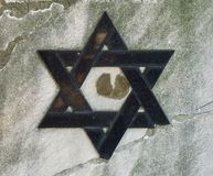 Jewish cemetery: Star of David on the tombstone. Religion concept Stock Photography