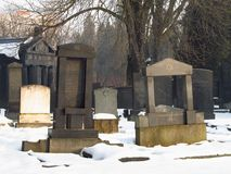 Jewish cemetery in winter Royalty Free Stock Photography