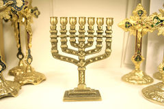 Jewish chandelier menorah. Golden colour jewish chandelier menorah Royalty Free Stock Photos