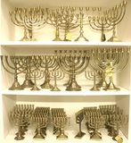 Jewish chandelier menorah. Golden colour jewish chandelier menorah Royalty Free Stock Photo