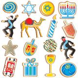 Jewish Chanukah Cookies. Cute assortment of Jewish Chanukah Cookies, isolated on white Stock Image