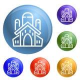 Jewish church icons set vector royalty free illustration