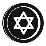 Jewish coin icon, simple style. Jewish coin icon. Simple illustration of jewish coin vector icon for web design isolated on white background Royalty Free Stock Images