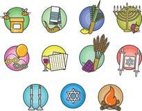 Jewish Colorful Icons Set Royalty Free Stock Photo