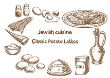Jewish cuisine. Classic potato latkes ingredients. Royalty Free Stock Image