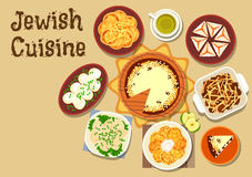 Jewish cuisine dinner menu with dessert icon Royalty Free Stock Images