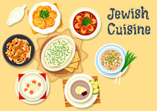 Jewish cuisine dishes icon for kosher menu design. Jewish cuisine kosher dishes icon with jellied pike fish, herring forshmak, fish ball soup, egg salad with Royalty Free Stock Photos