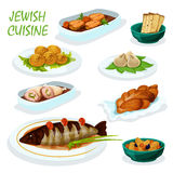 Jewish cuisine icon for festive dinner menu design. Jewish cuisine festive dinner menu icon with matzah, chickpea falafel, gefilte pike fish, stuffed chicken Royalty Free Stock Images
