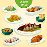 Jewish cuisine icon with festive dinner menu. Jewish cuisine icon with matzah, stuffed pike fish and chicken leg, gefilte fish, falafel, meat dumplings kreplach Royalty Free Stock Photos