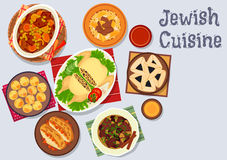 Jewish cuisine kosher dinner icon for menu design Royalty Free Stock Photos