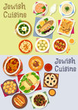 Jewish cuisine kosher food icon for menu design. Jewish cuisine kosher food icon with fish and chicken dishes, chickpea falafel, lamb, beef bean stew, meat Stock Images