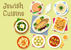 Jewish cuisine traditional dishes for dinner icon. Jewish cuisine dishes icon with gefilte fish, stuffed prune trout, dumpling chicken soup, lentil chowder Stock Photography