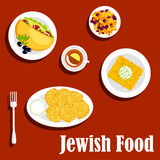 Jewish cuisine vegetarian dishes and pastry Royalty Free Stock Photo