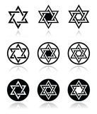 Jewish, David star icons set  on white Stock Photography