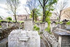 Jewish District in Krakow Kazimierz, Poland. The Remuh Cemetery on main street in Jewish Krakow Kazimierz Royalty Free Stock Photos
